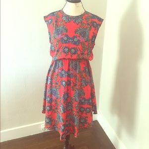 Collective concepts red floral dress sz M